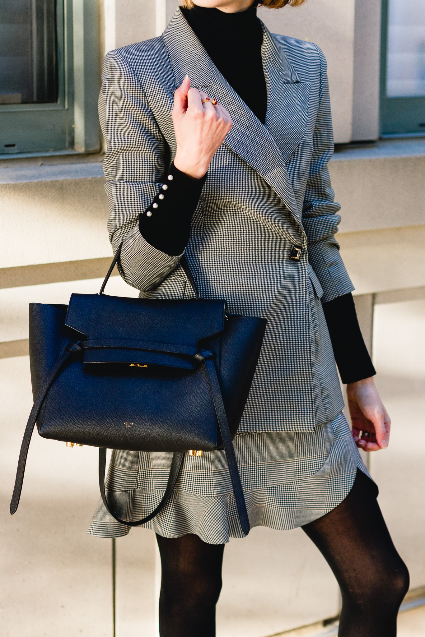 vintage blazer, Zara plaid skirt, and Celine bag