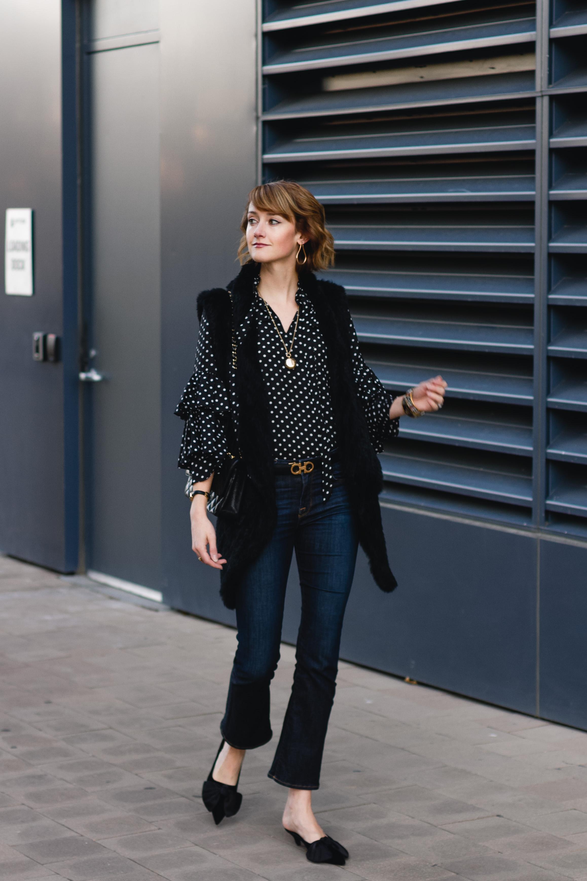 polka dot blouse, fur vest & Frame jeans