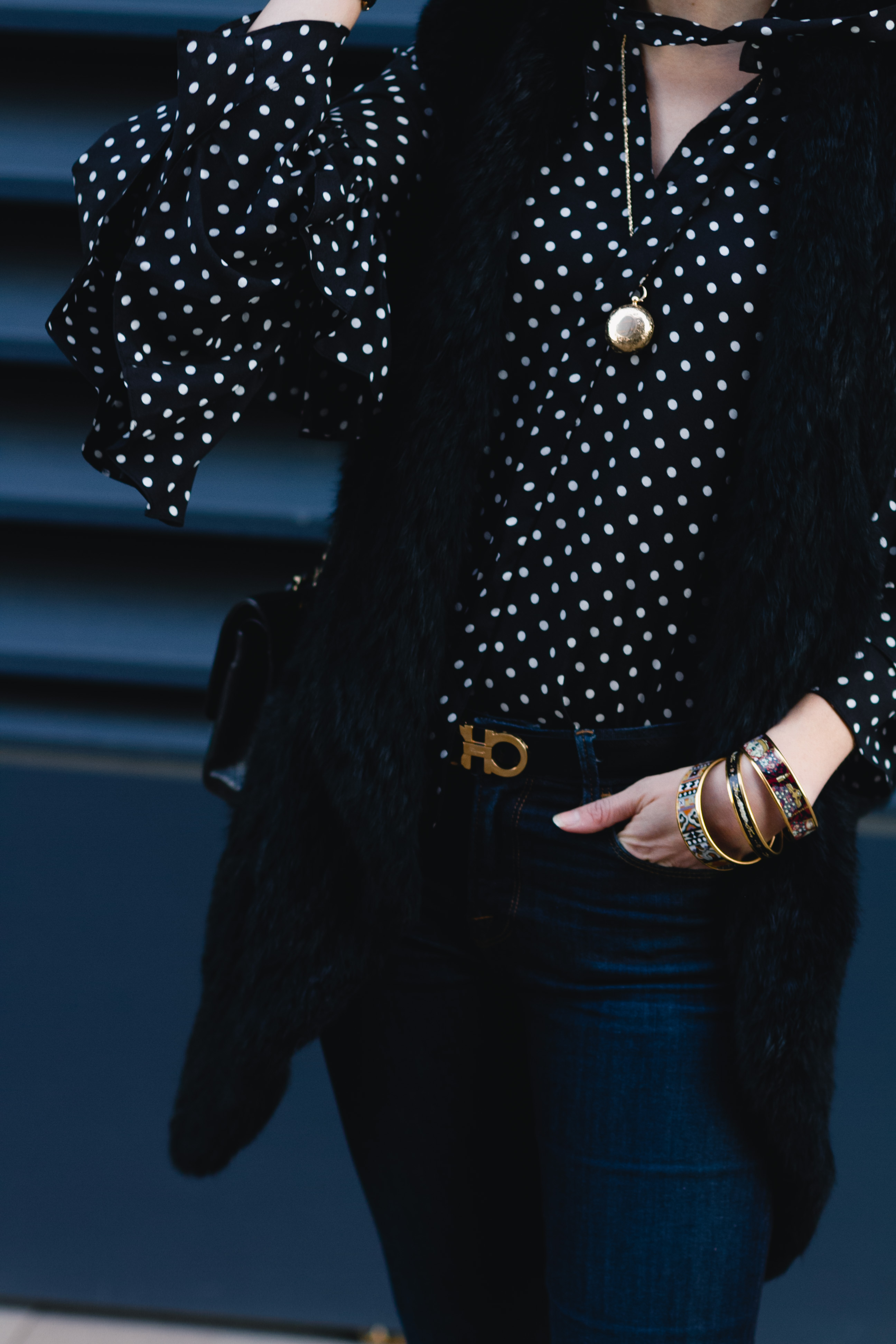 polka dot blouse, fur vest & Ferragamo belt