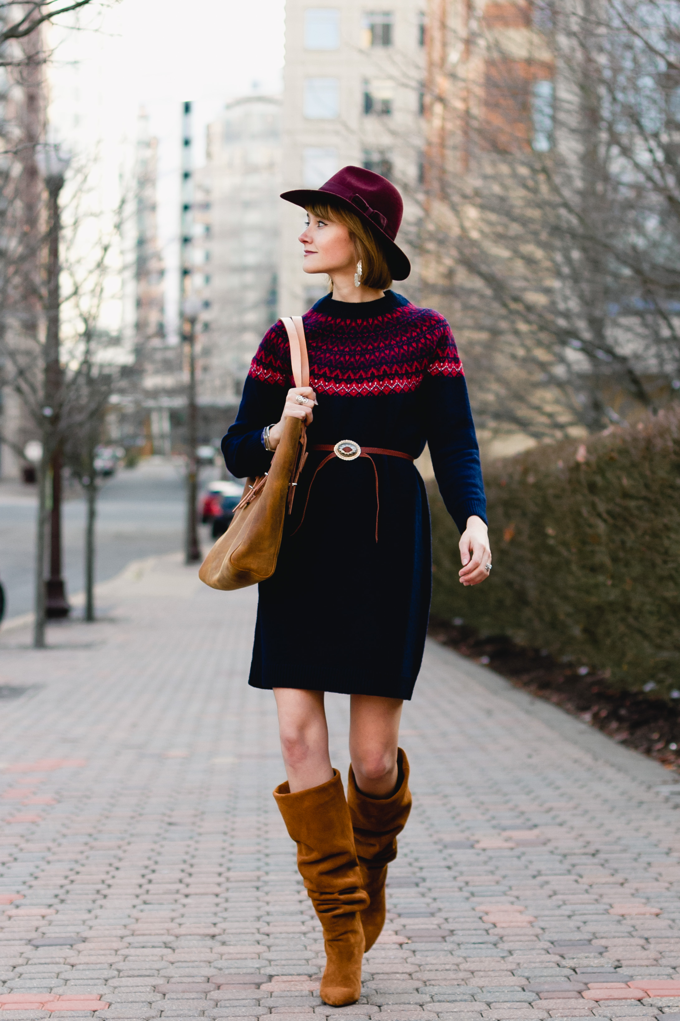 Woolovers fair isle dress and Jeffrey Campbell slouchy boots