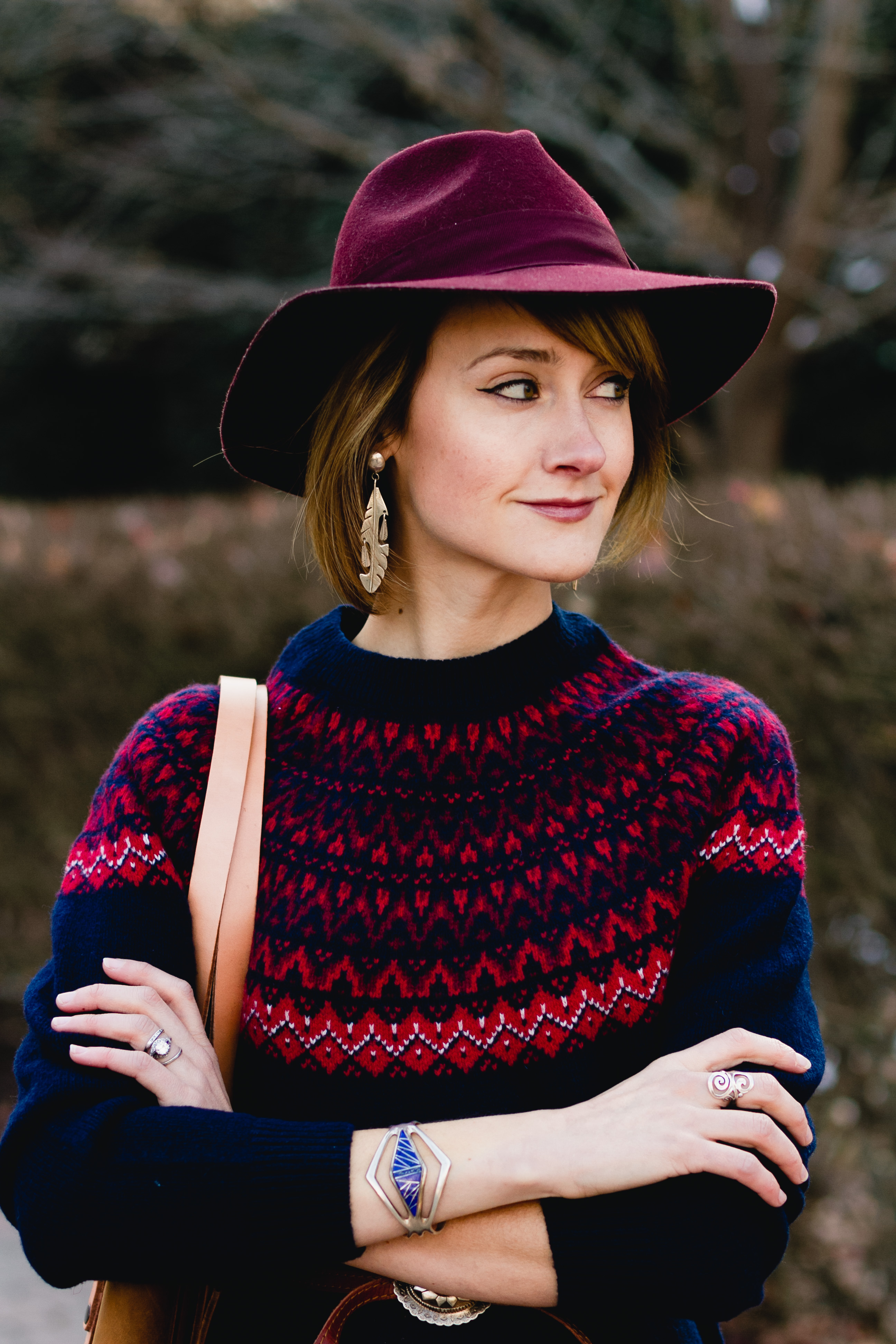 Woolovers fair isle dress and red fedora