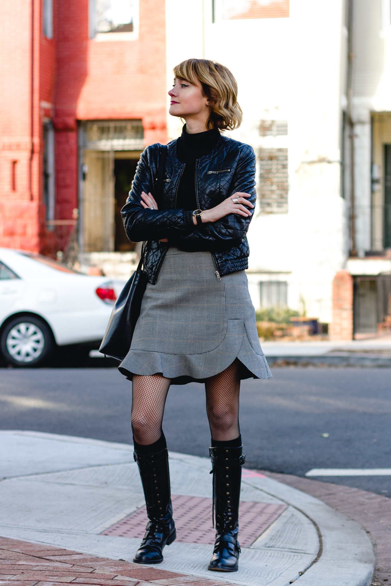 Zara plaid skirt and DKNY combat boots
