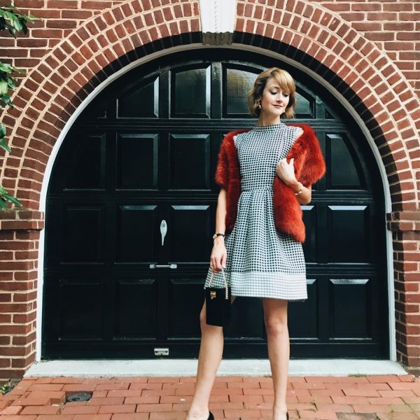 Oasis jacquard dress and J.Crew faux fur stole