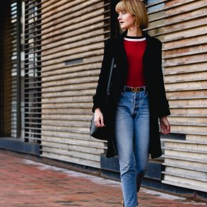 Marc New York coat and RE/DONE jeans