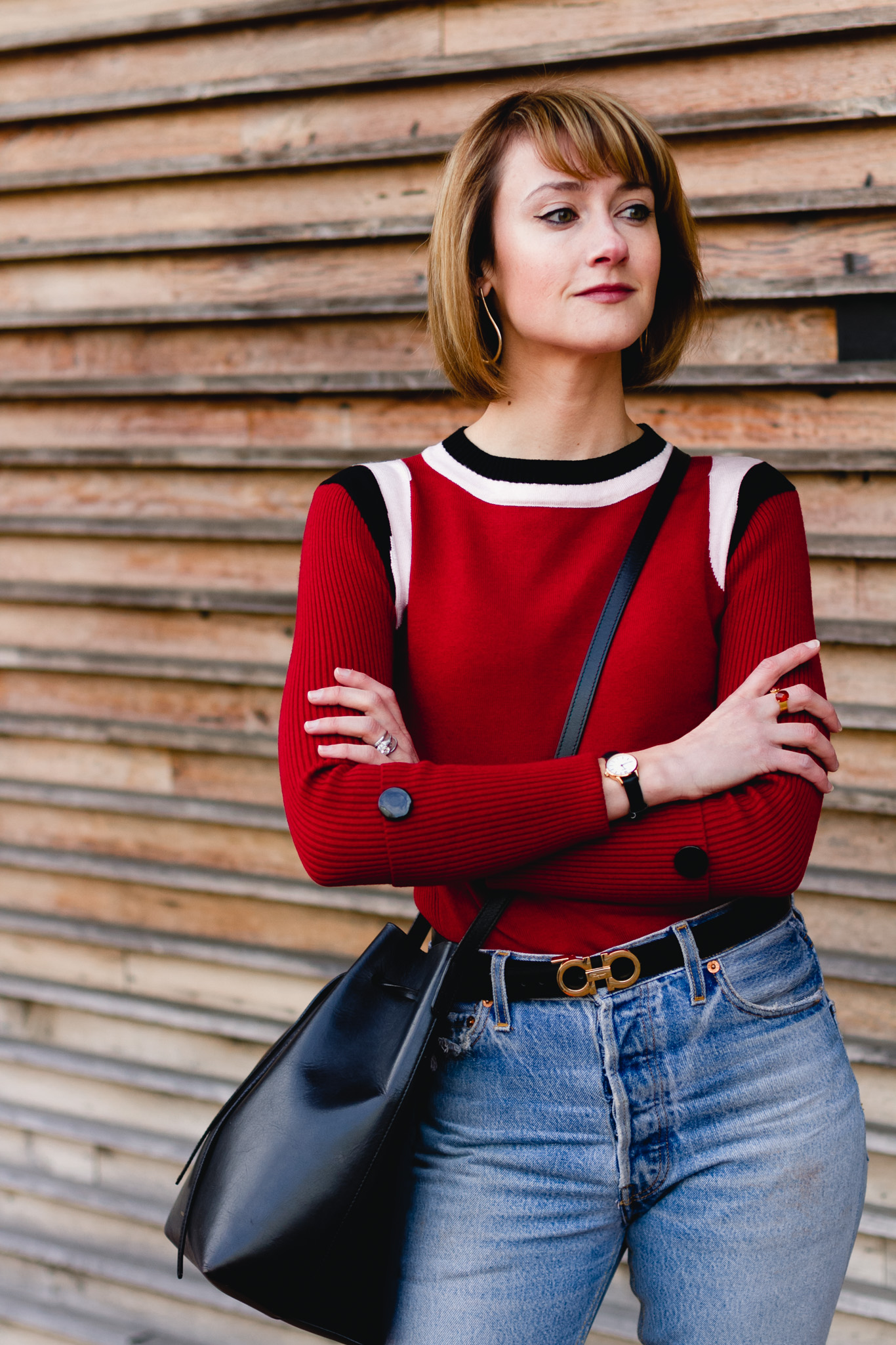 Marni sweater, Ferragamo belt, and Mansur Gavriel bag