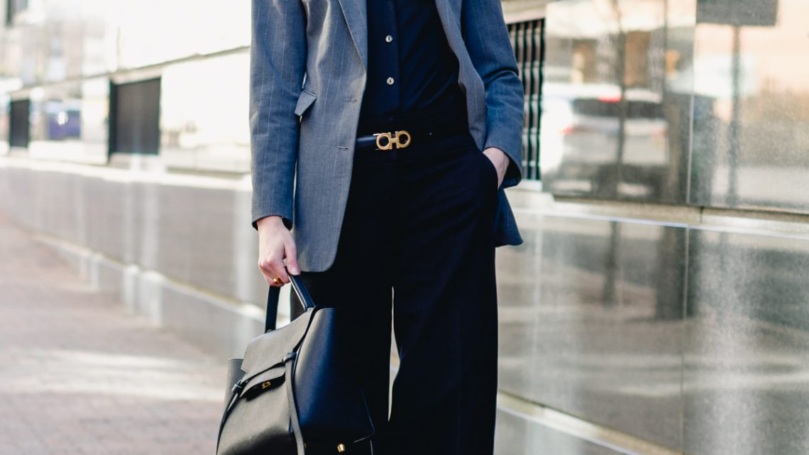 gray Express blazer, satin Equipment top, and wide-legged pants