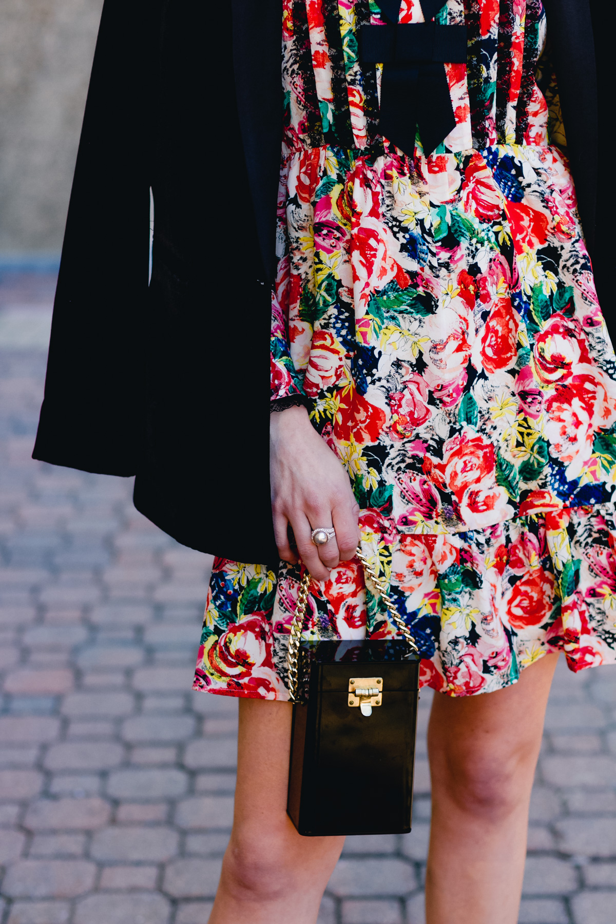 Mango velvet blazer, Ganni dress, and vintage box bag