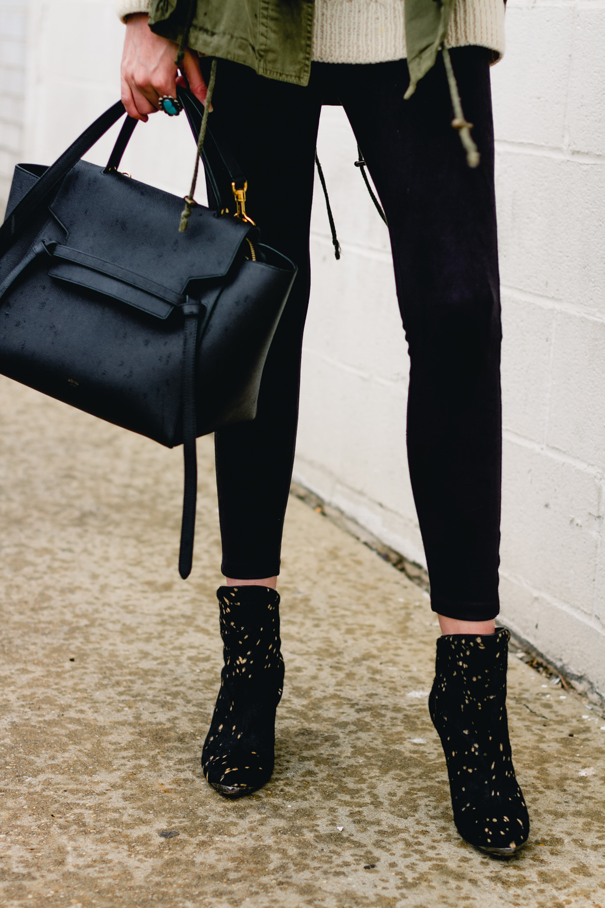 Celine bag, suede leggings, and Sigerson Morrison boots