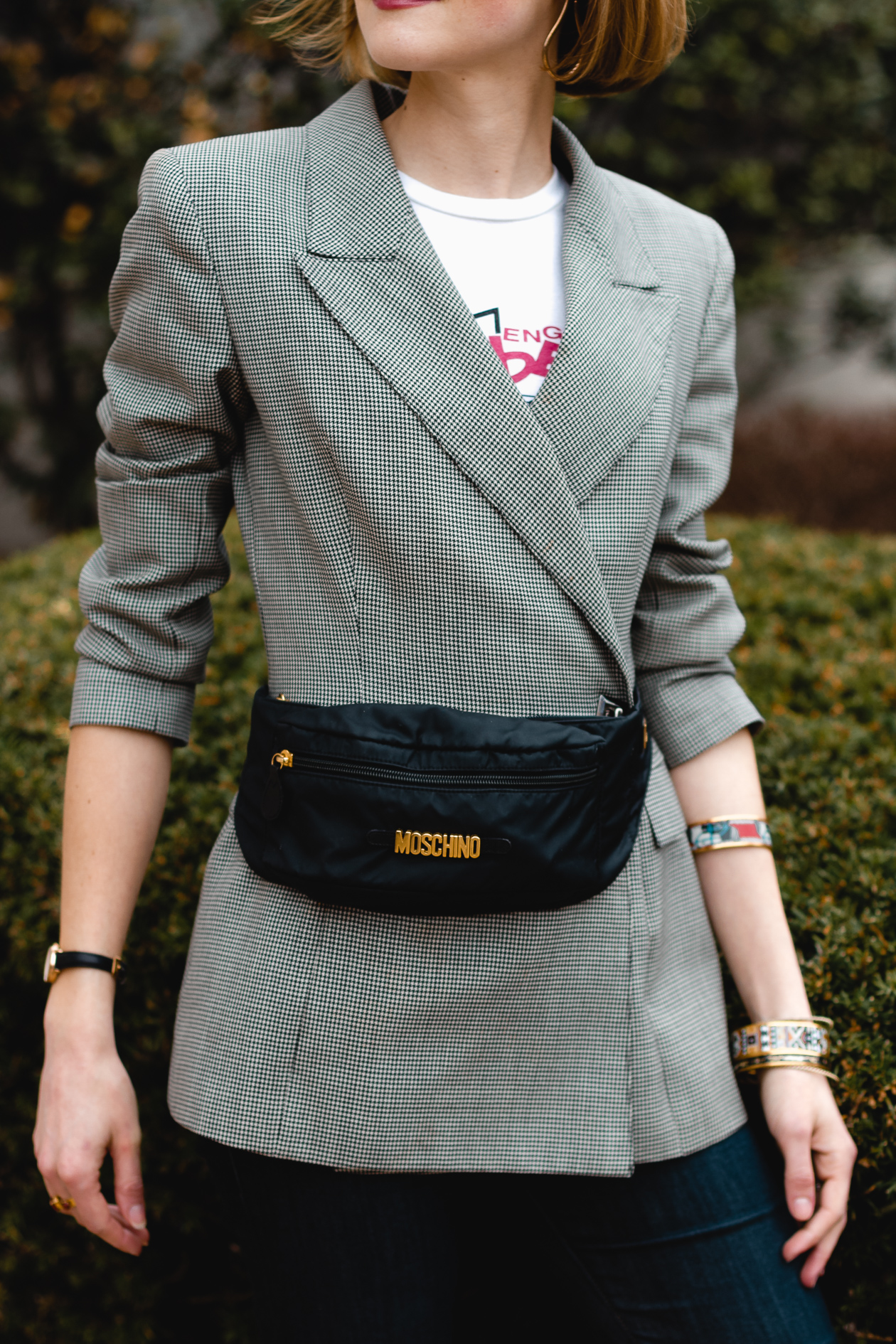 vintage blazer and Moschino belt bag