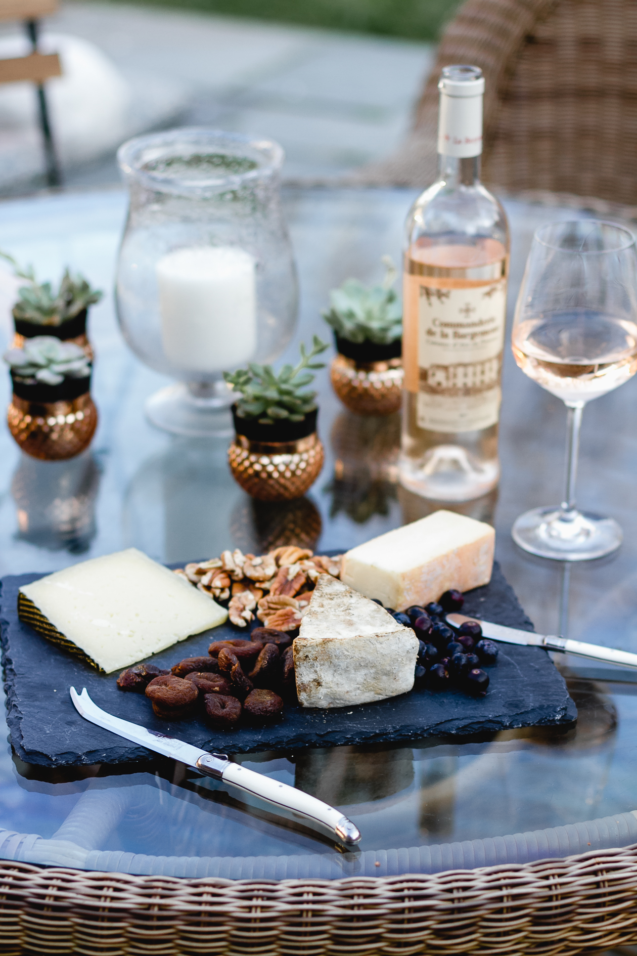 cheese board and rosé wine