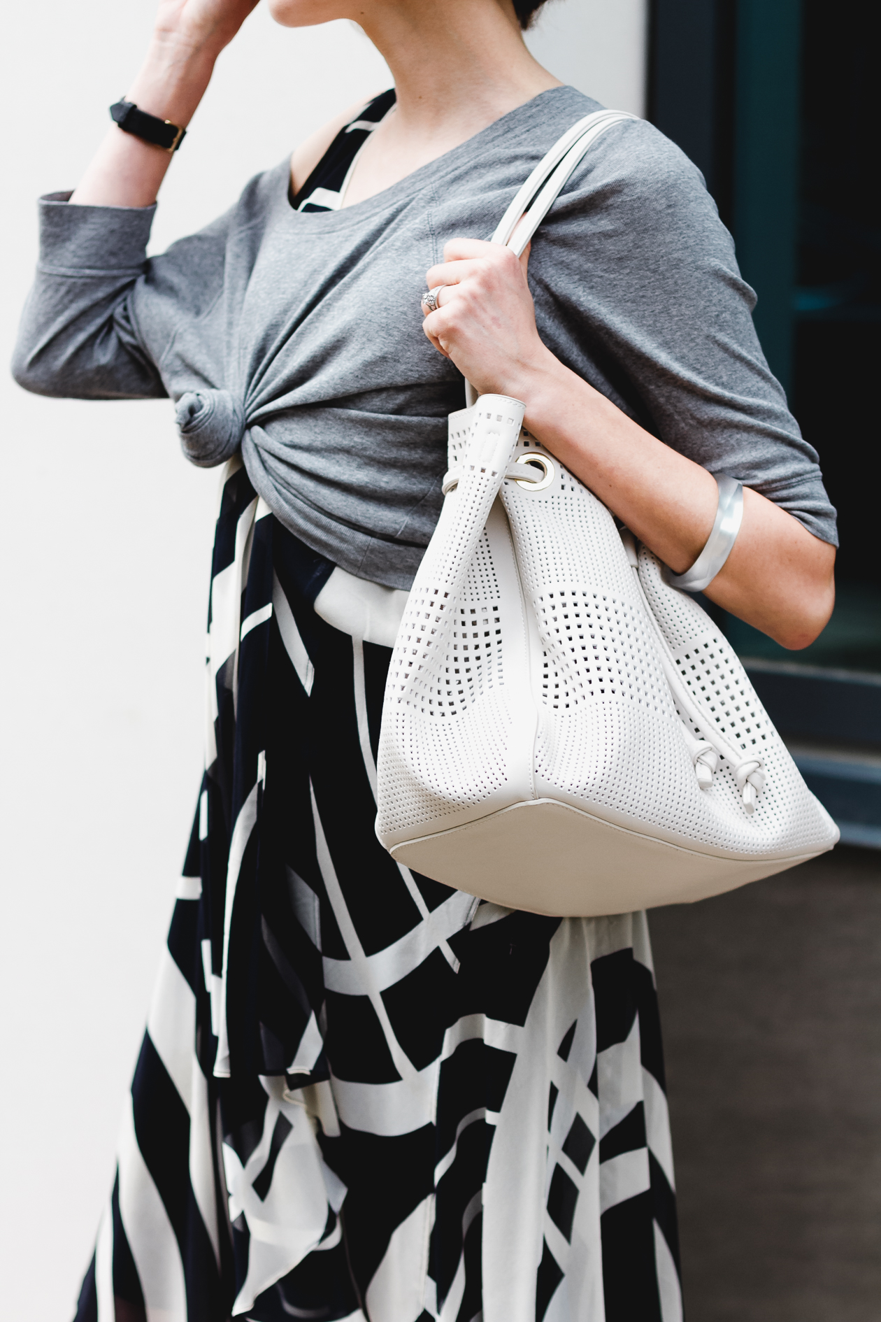 Deux Lux perforated drawstring bag