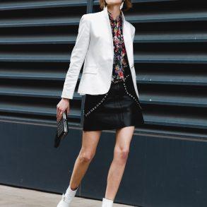 white blazer and Dorateymur ankle boots