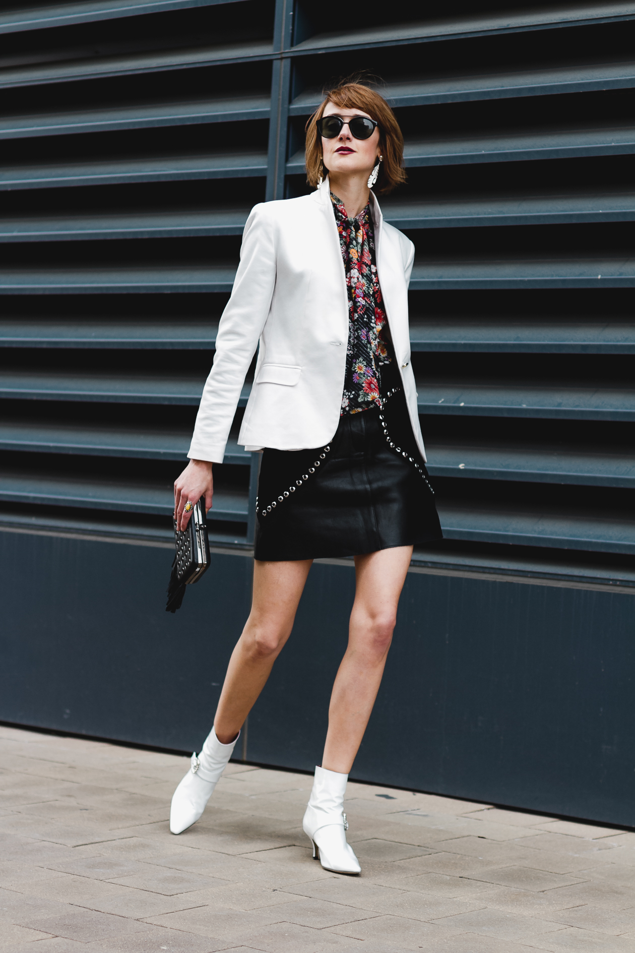 white blazer and Dorateymur ankle boots