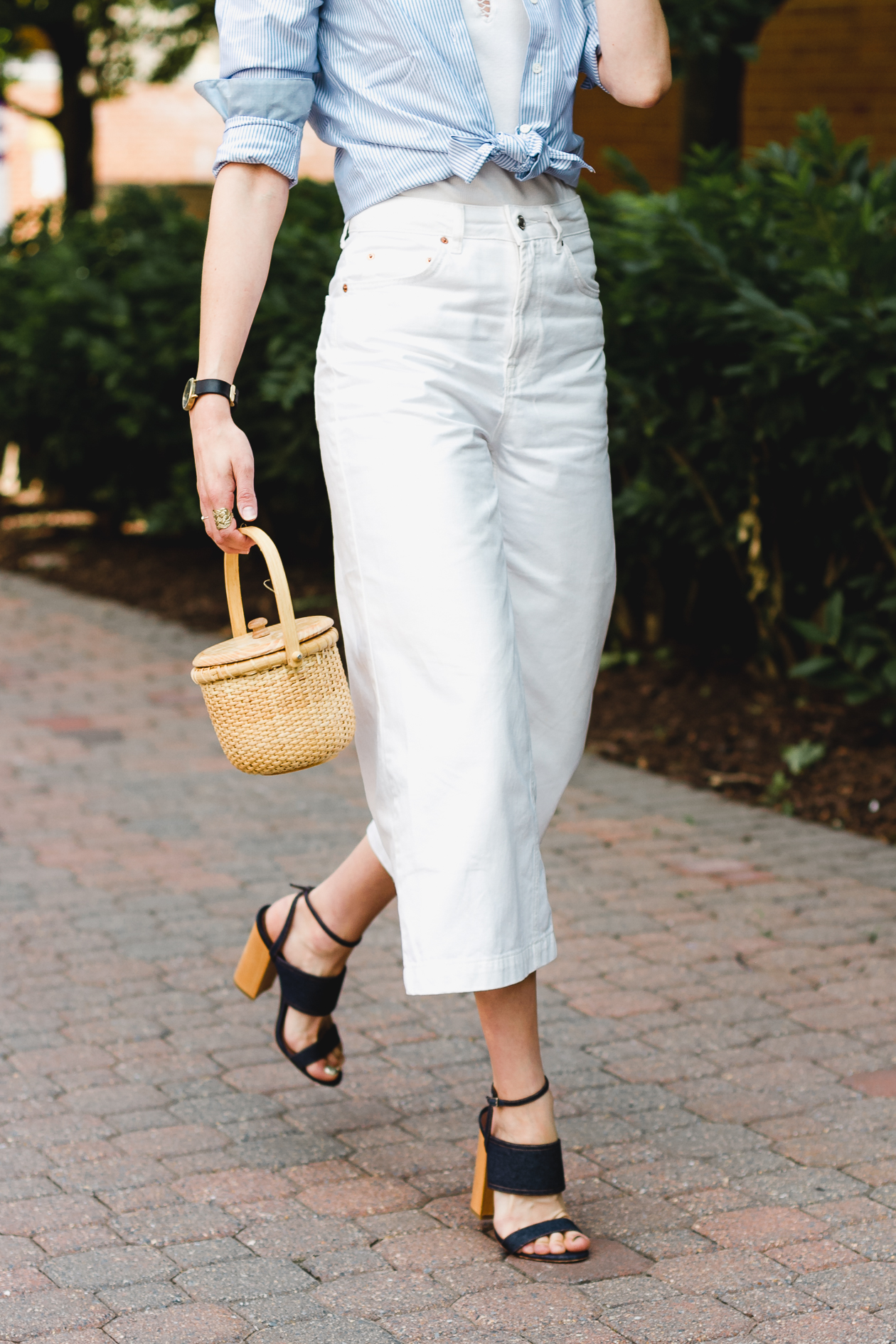 Topshop white jeans and Tabitha Simmons sandals