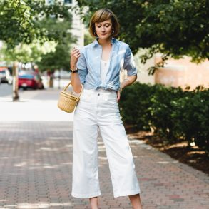 Brooks Brothers oxford and Topshop white jeans