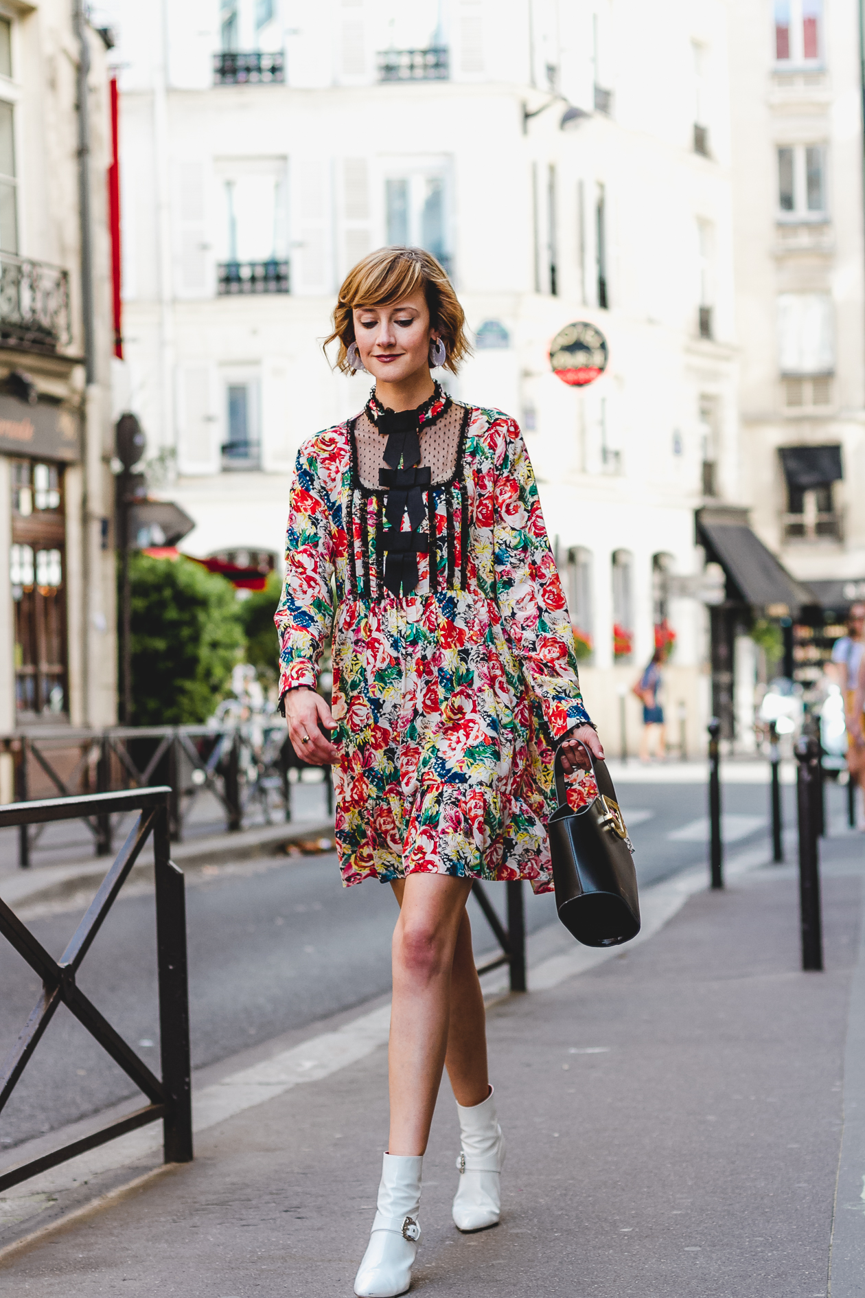 Ganni floral dress and Dorateymur boots