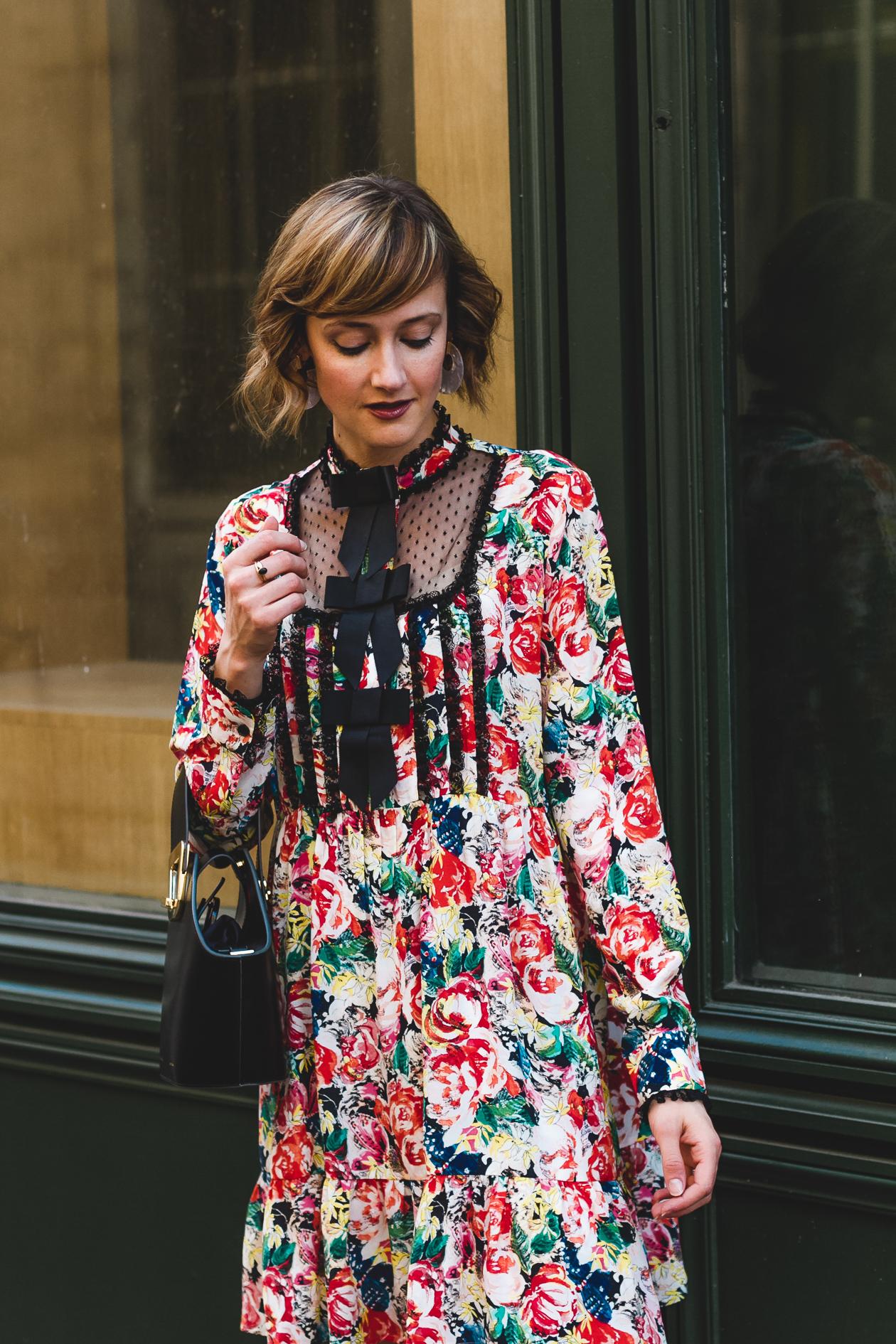 Ganni floral dress and Danse Lente bag