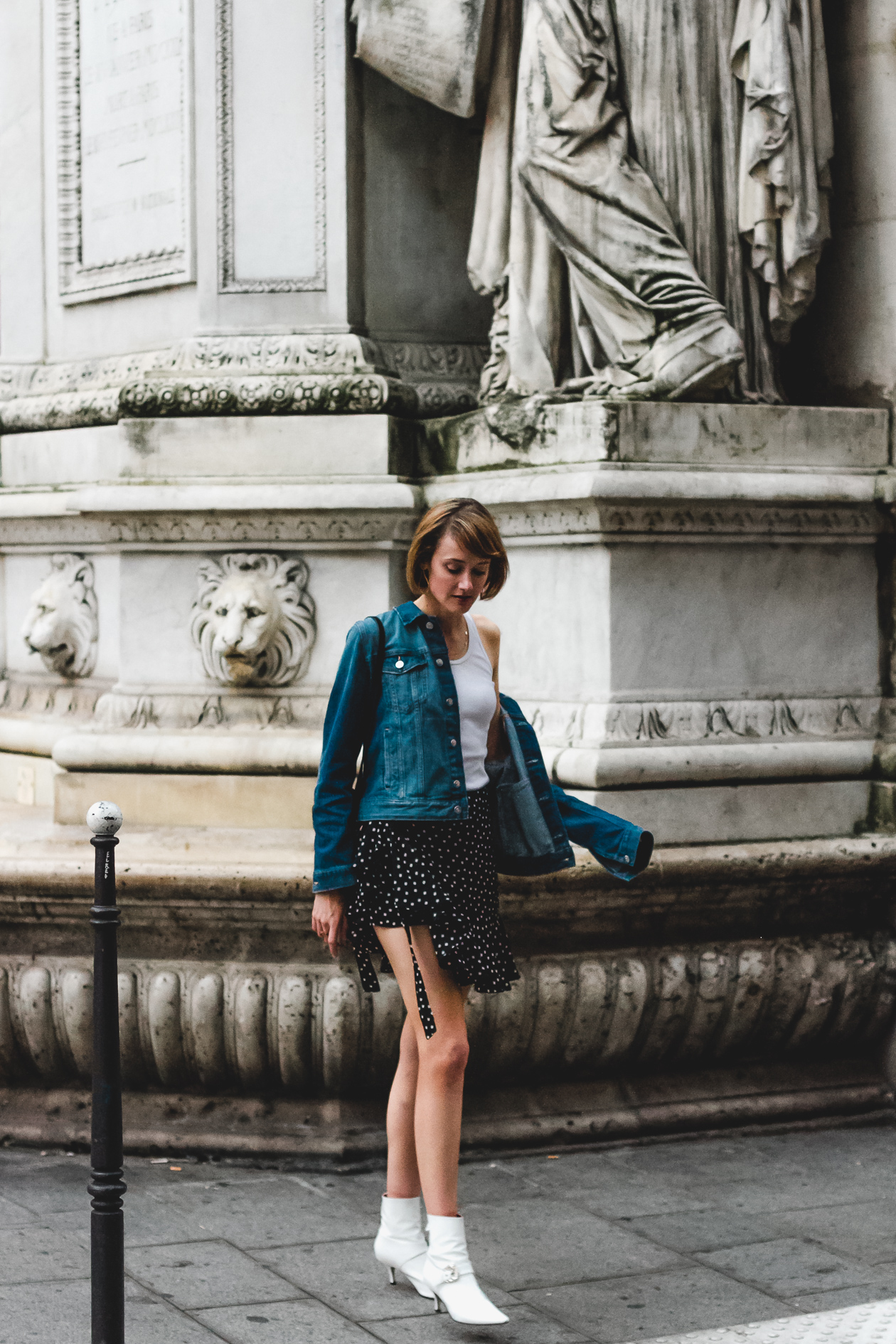 denim jacket and ruffled polka dot skirt