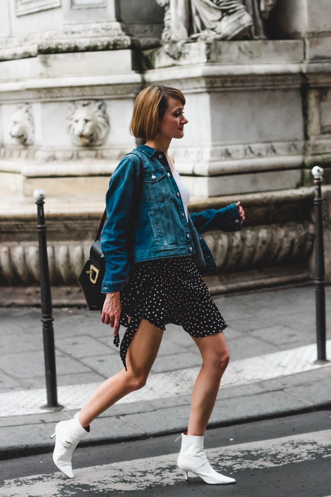 denim jacket, polka dot skirt, Dorateymur boots, and Danse Lente bag