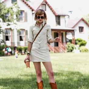 Joie mini dress and western boots