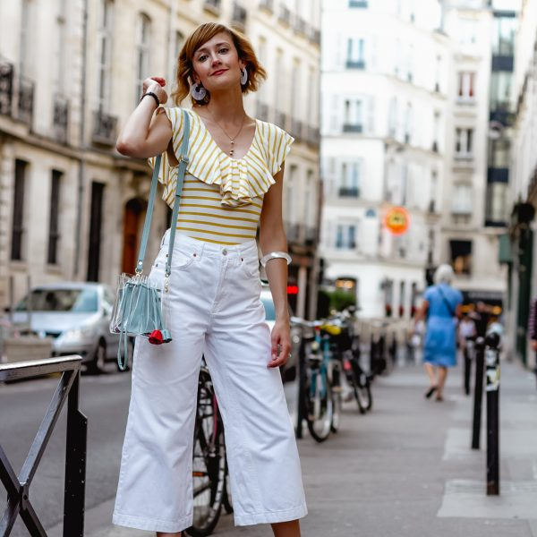 striped bodysuit and Topshop white jeans