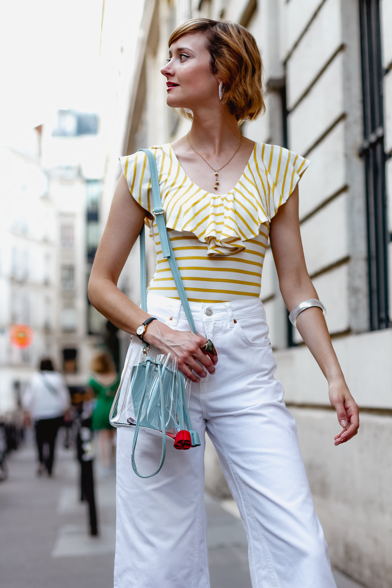striped bodysuit and Frankie Shop clear bag