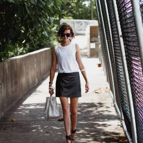 Calvin Klein top and leather skirt