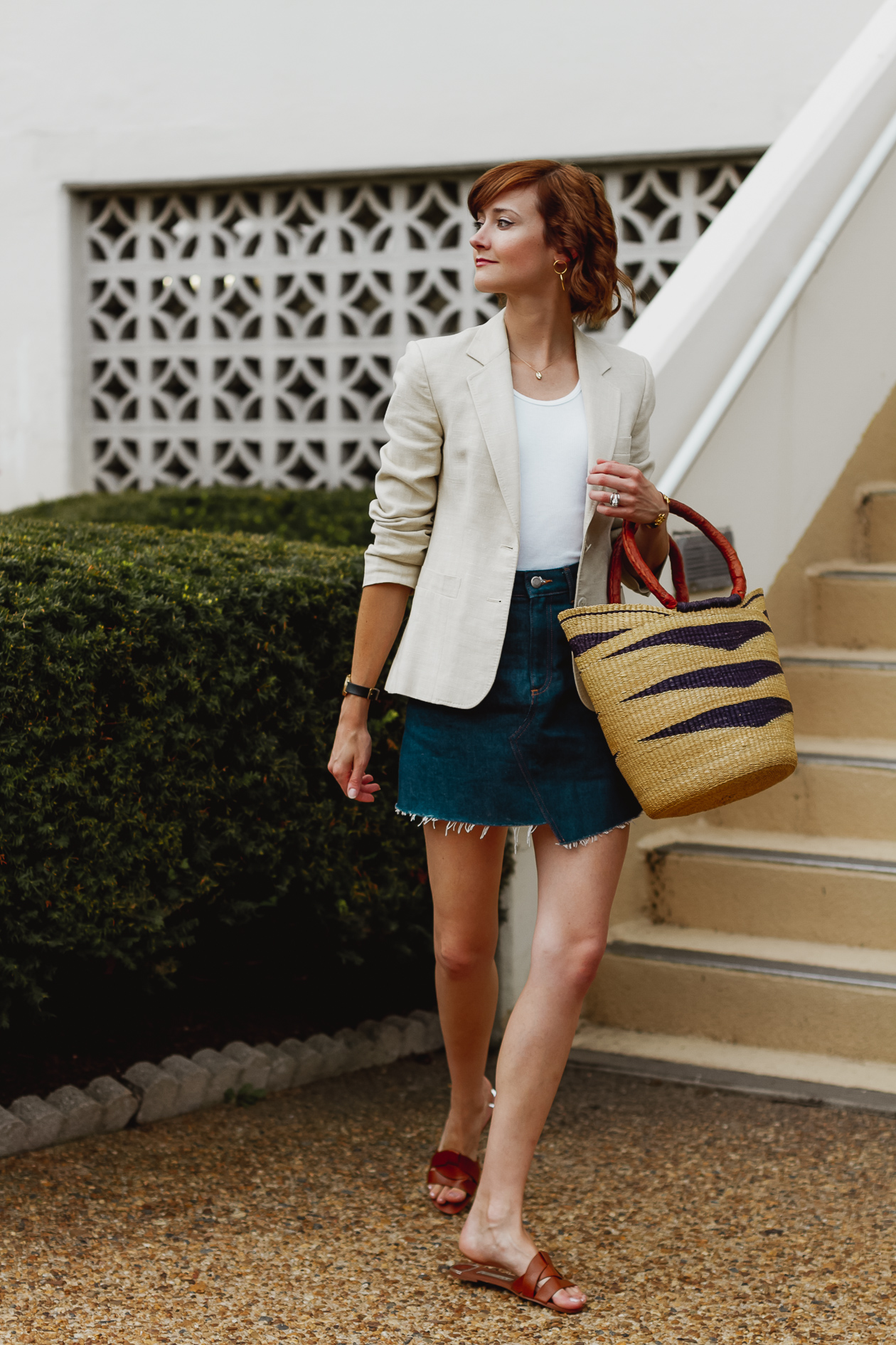 & Other Stories denim skirt and linen blazer