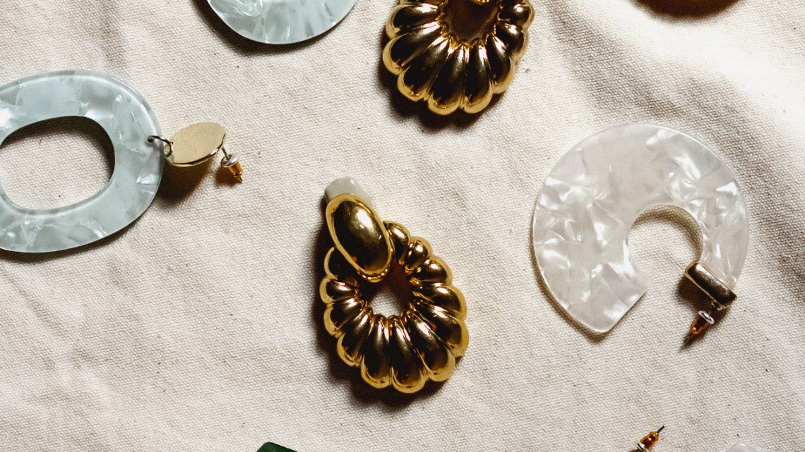 gold and resin statement earrings