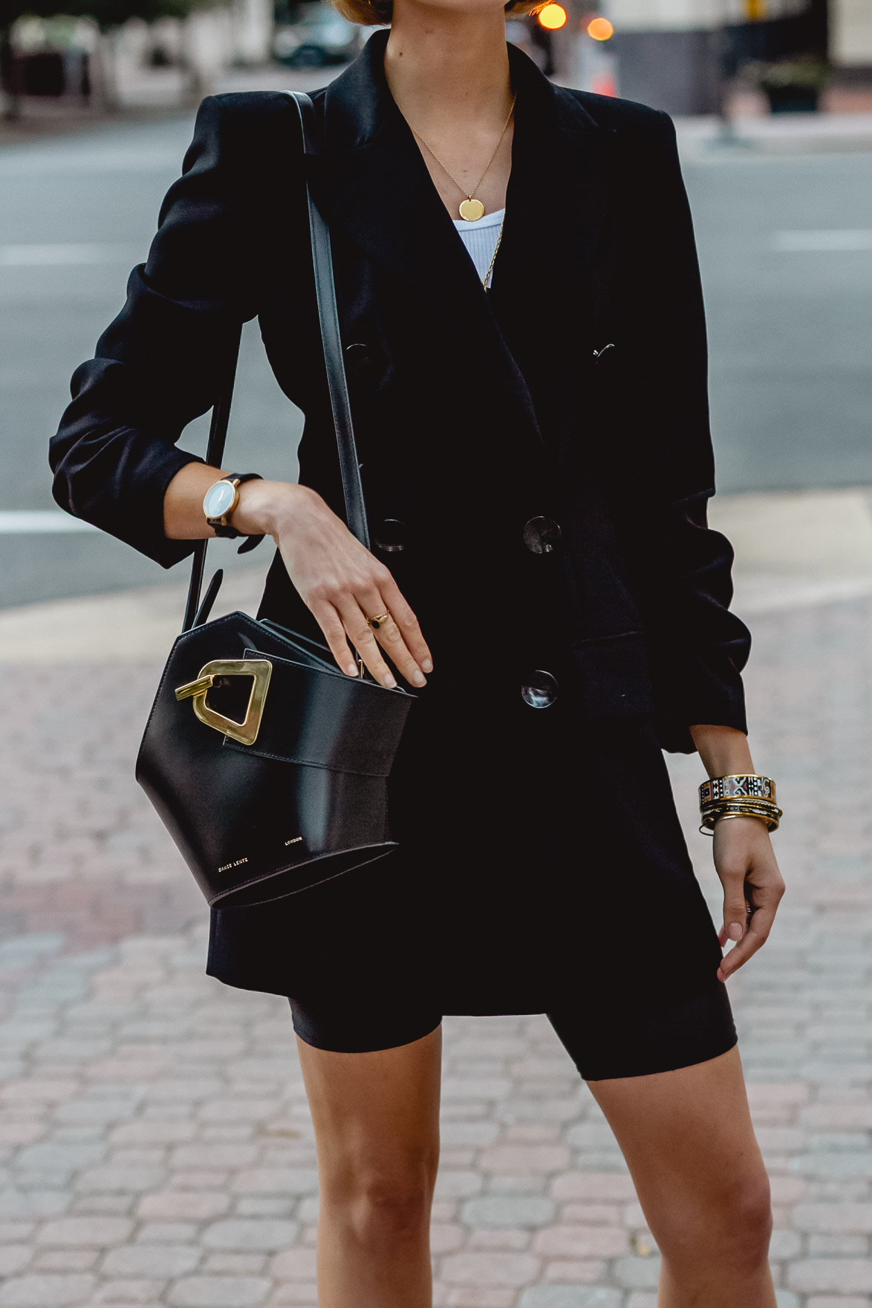 oversized blazer and biker shorts