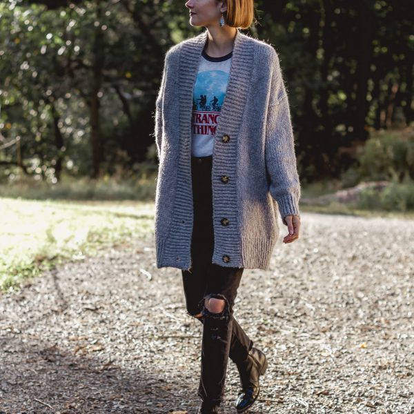 Stranger Things t-shirt and oversized cardigan