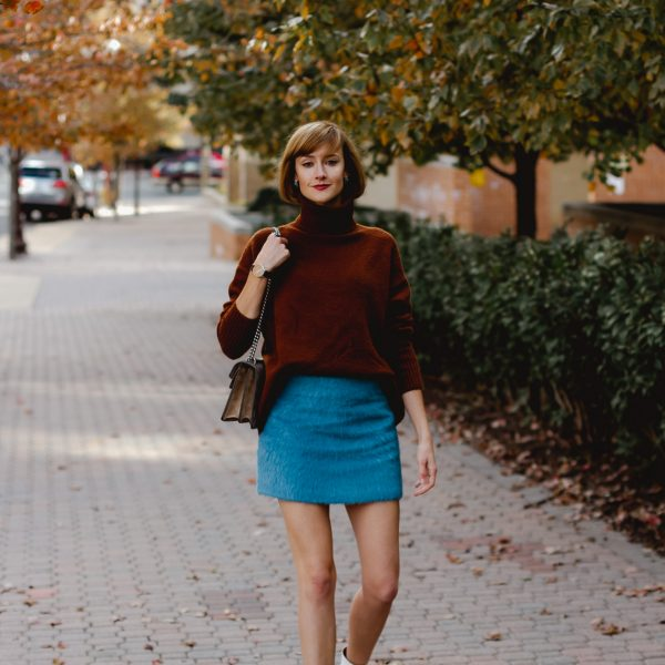 & Other Stories sweater and mini skirt