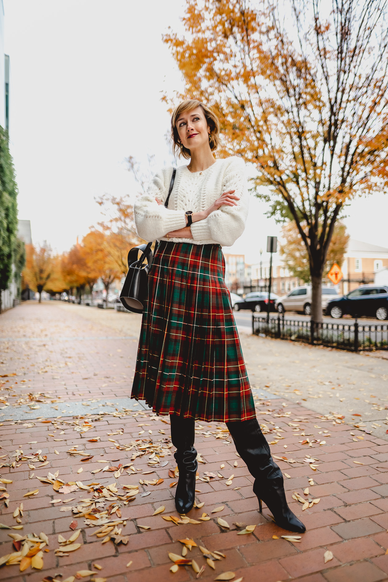 & Other Stories sweater and tartan skirt