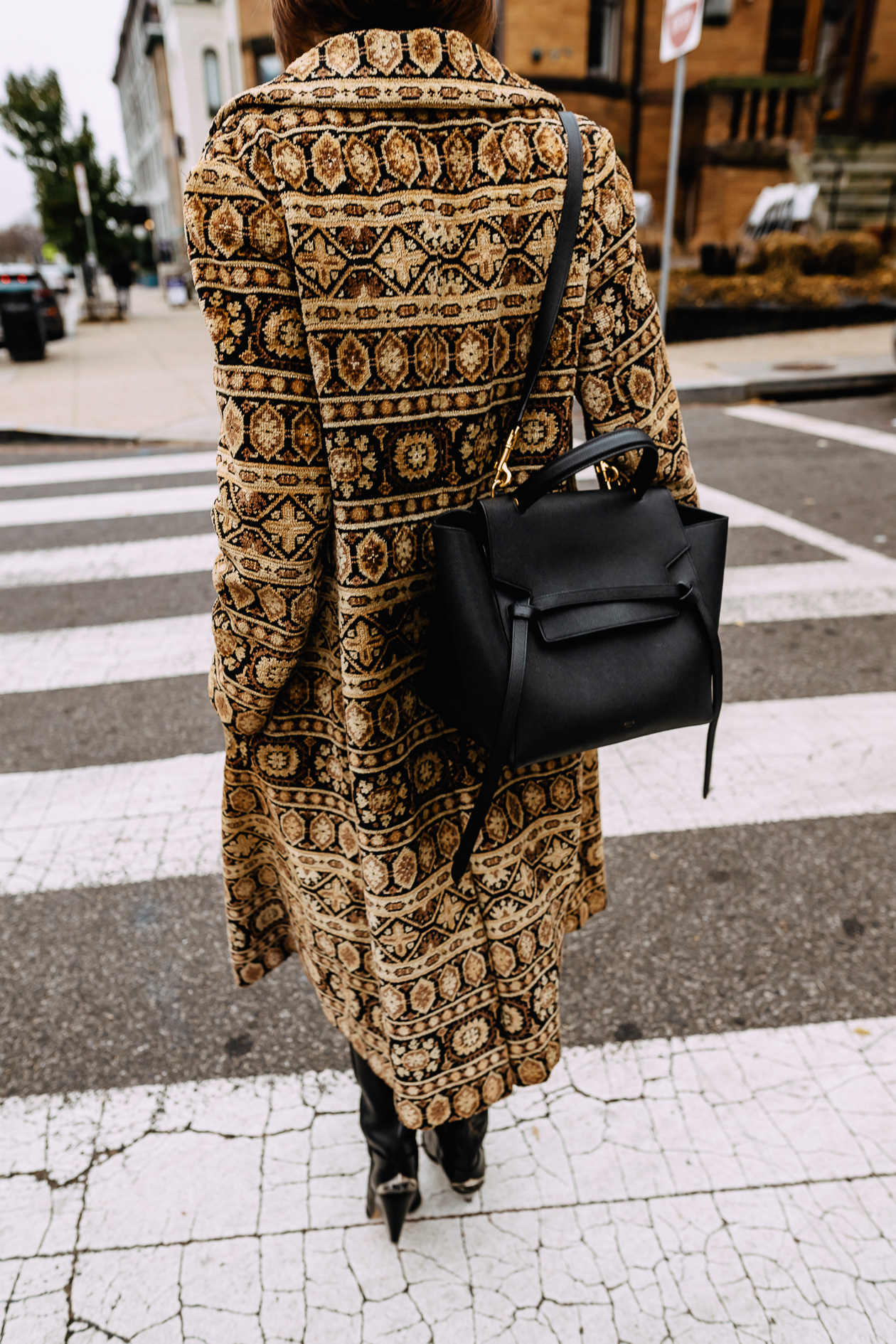 vintage tapestry coat and Celine bag