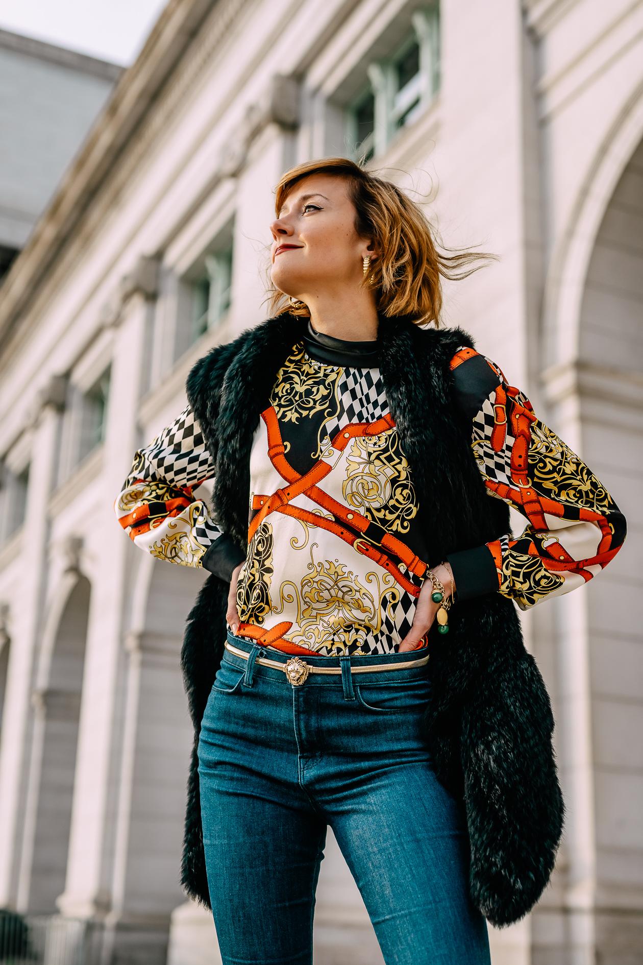 vintage Escada scarf print blouse