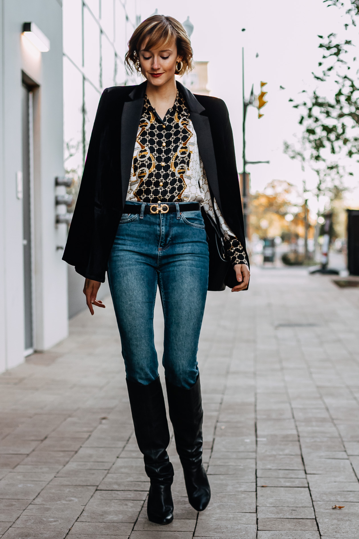 velvet blazer and vintage blouse