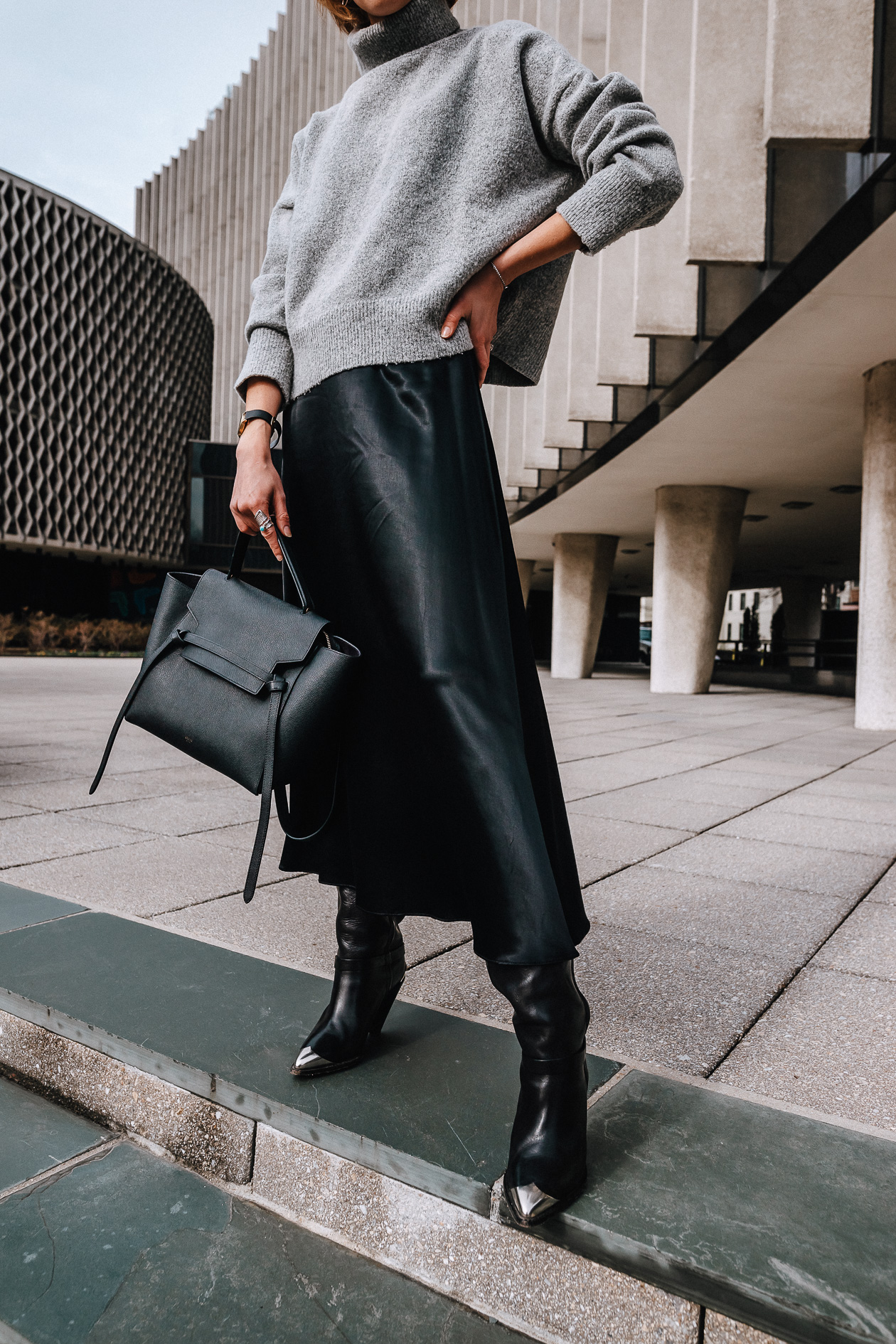 cropped turtleneck and satin skirt