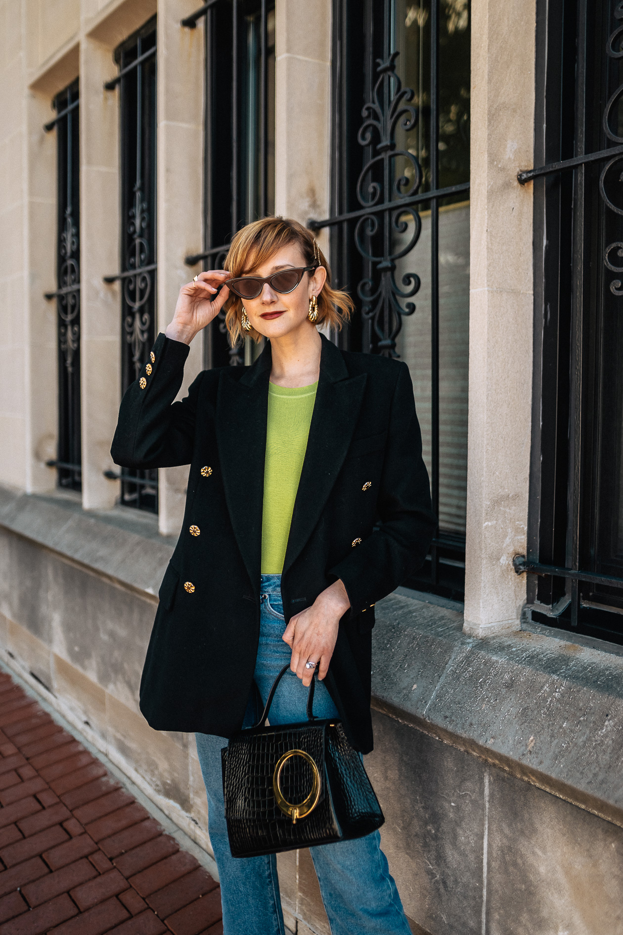 neon t-shirt and oversized blazer