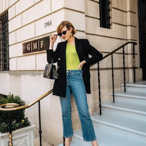 neon t-shirt and oversized blazer