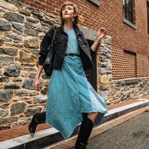 Colovos patchwork denim dress