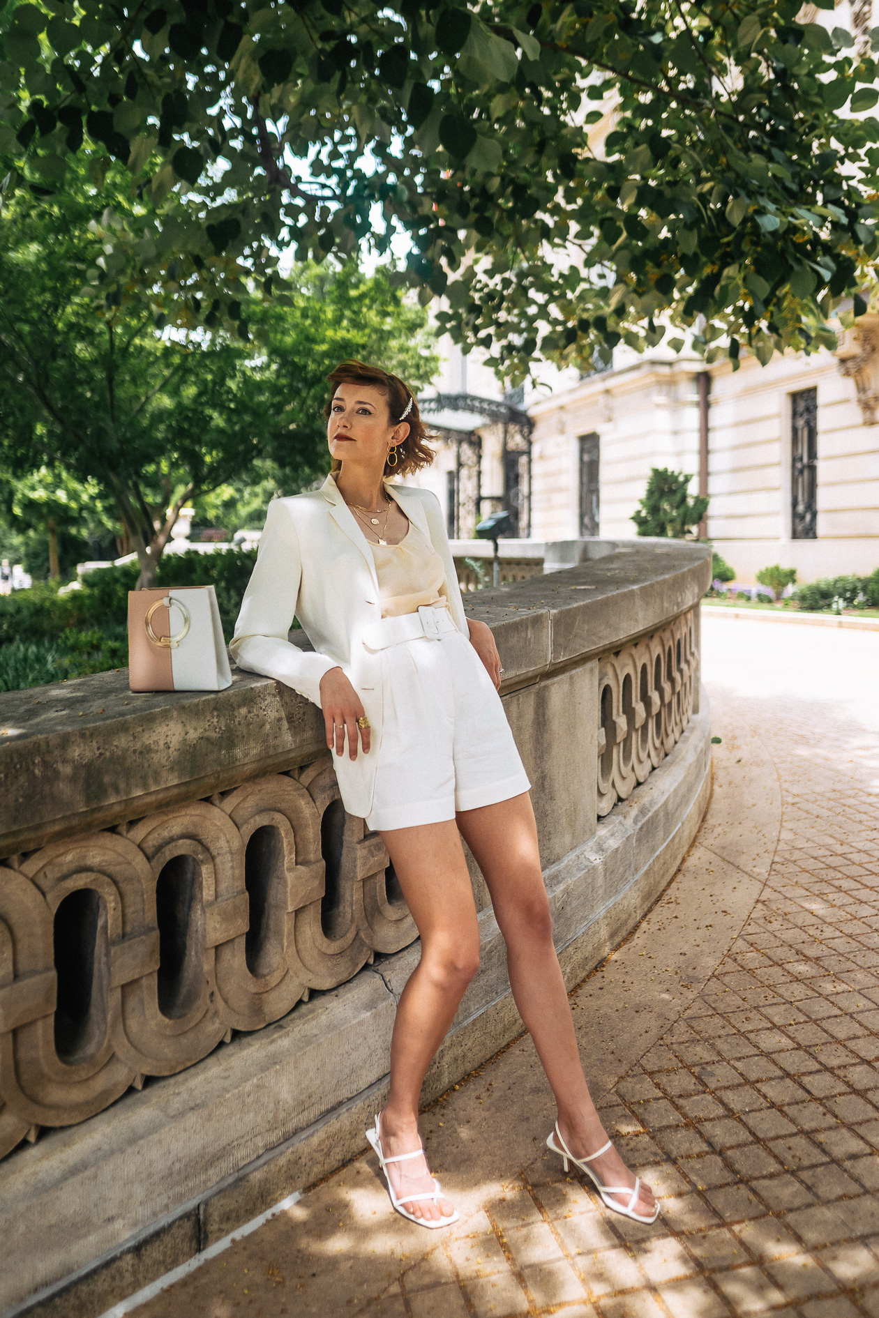 white linen short suit