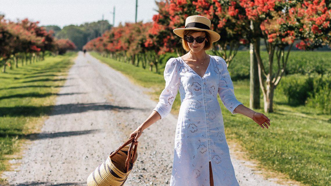 white eyelet dress & straw boater hat