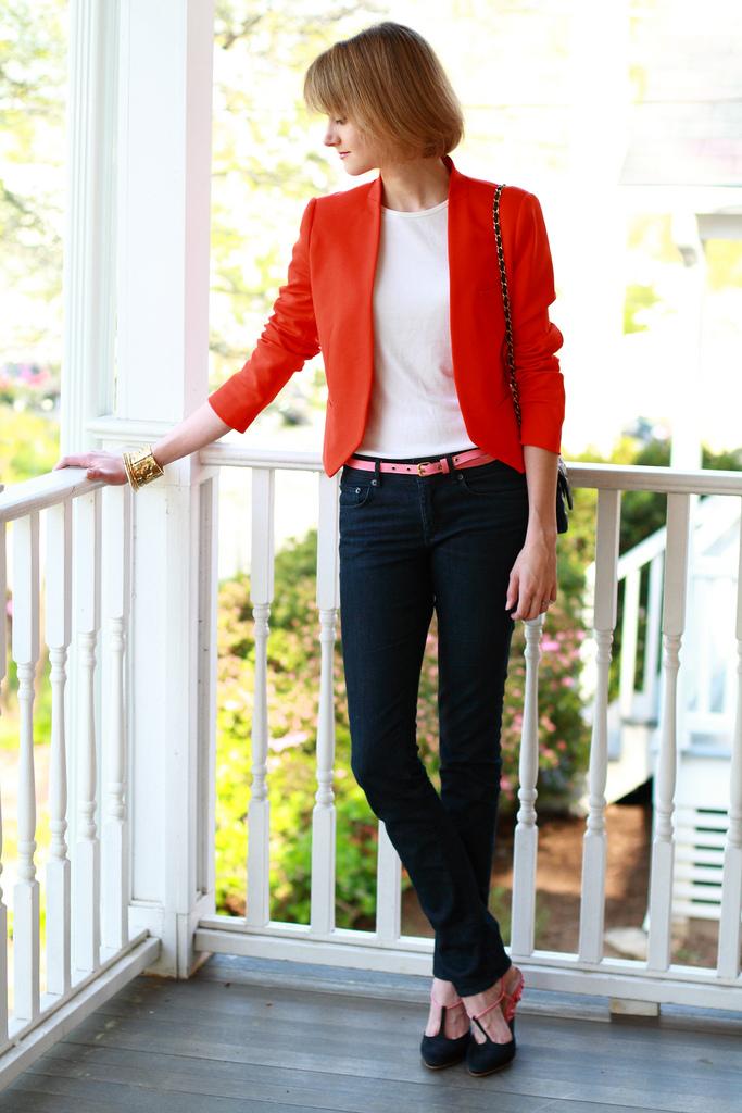 Zara orange blazer and jeans