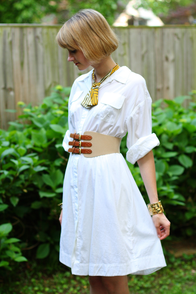 white shirt dress and lady tie