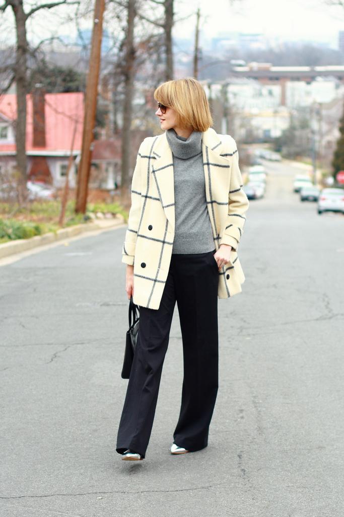 window pane plaid coat and wide-legged pants