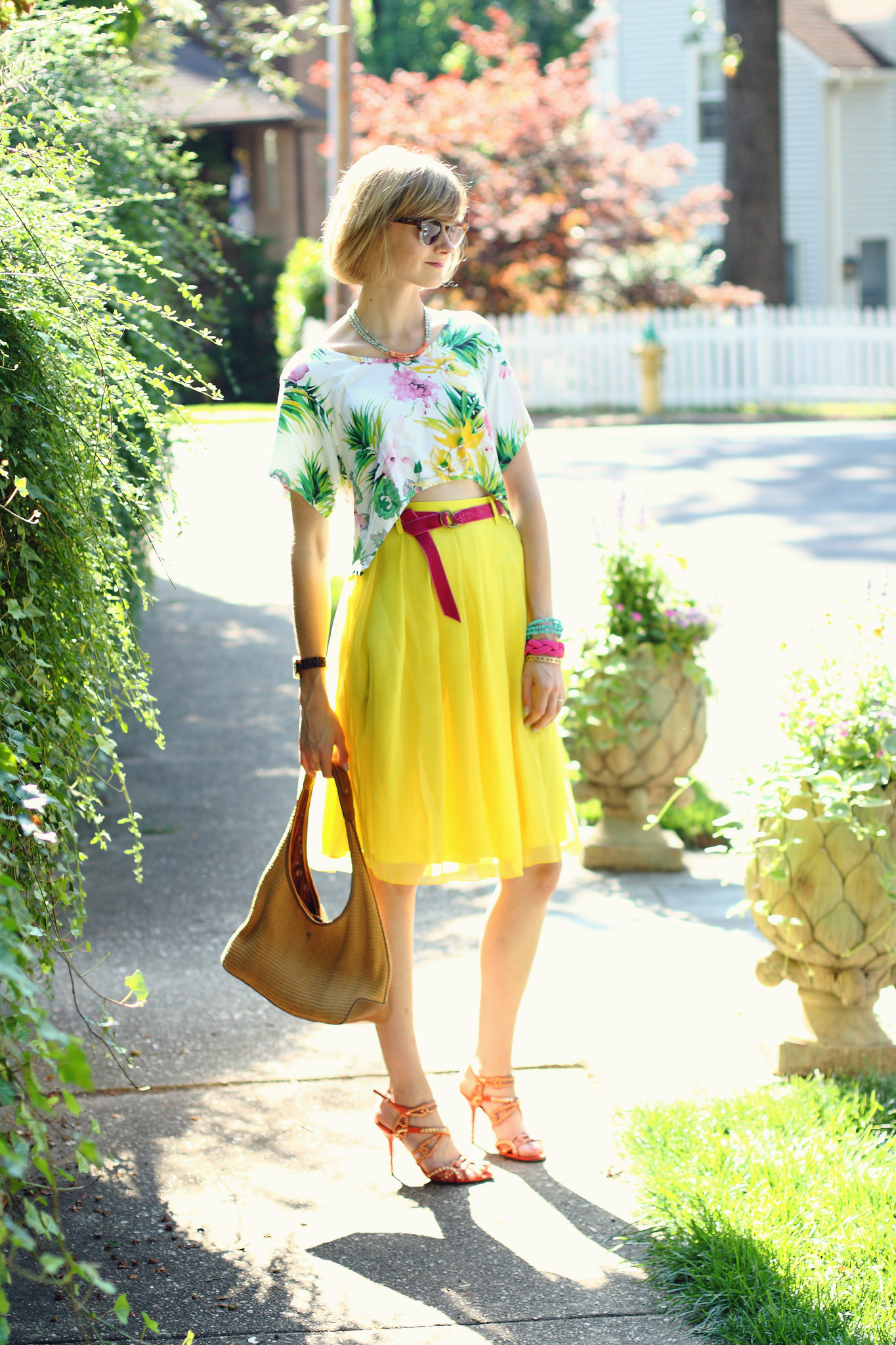 tropical top and yellow skirt