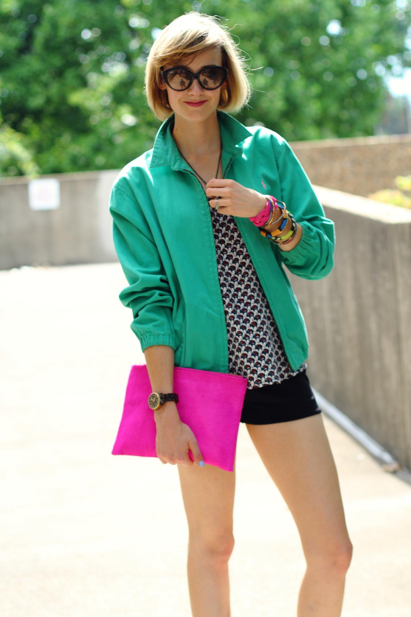 vintage Ralph Lauren jacket and Joie top