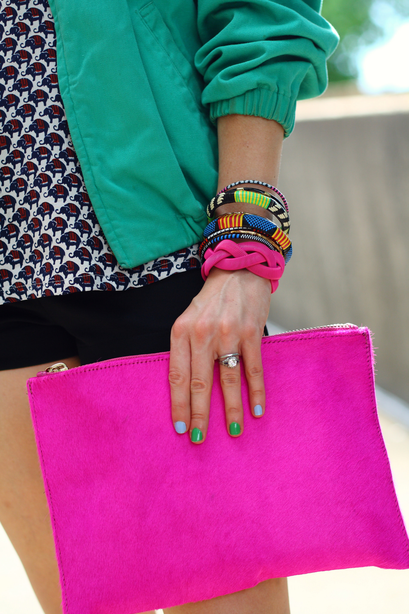 bright pink ASOS clutch