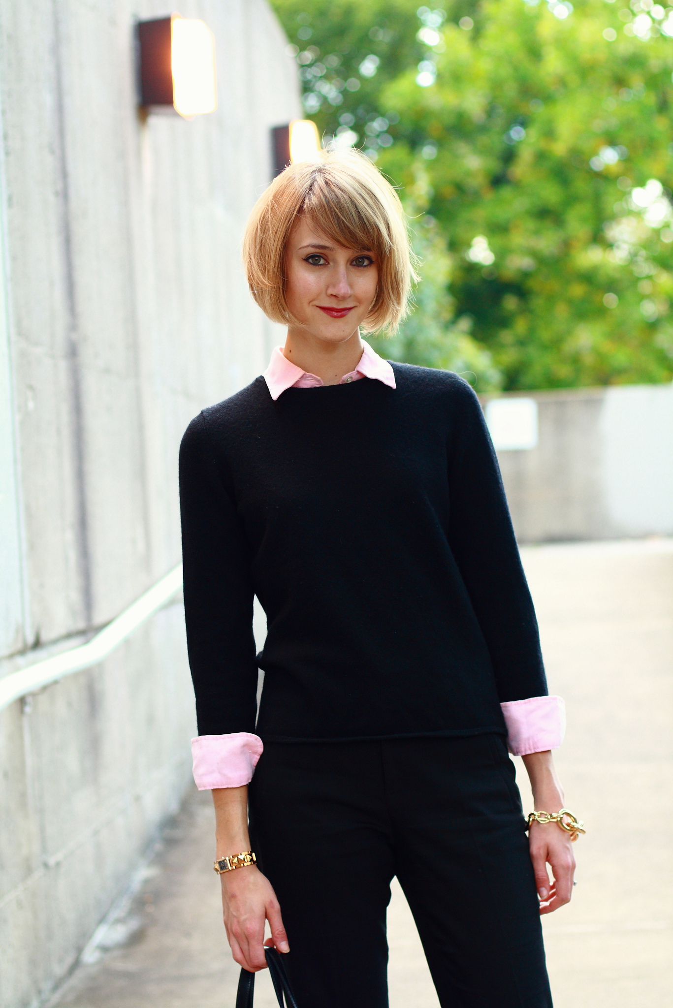 pink and black work outfit