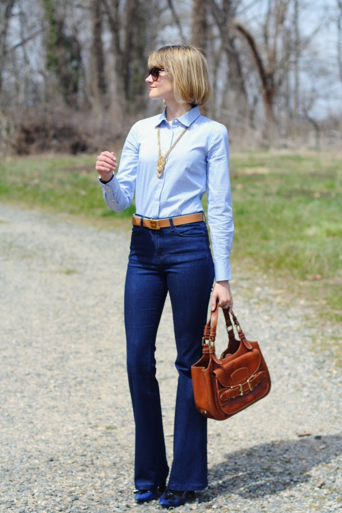 button-down and high-waisted jeans